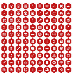 100 chemistry icons hexagon red vector