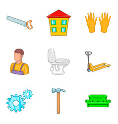 Apartment renovation icons set cartoon style vector