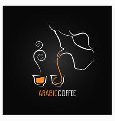 Arabic coffee logo design background vector
