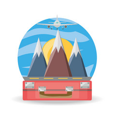 Bag and airplane with snowy mountains vector