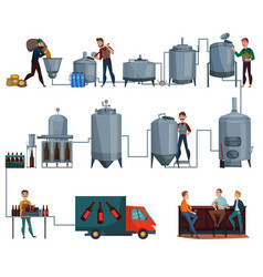 Beer production cartoon set vector