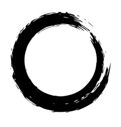 Black brush strokes in the form of a circle vector