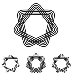 Black line star logo design set vector