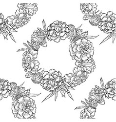 bouquet marigold flowers and leaves vector image