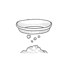 Bowl for sifting gold sketch icon vector