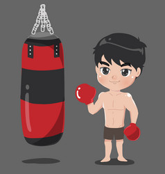 boy boxer with punch bag carrier vector image