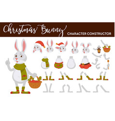Bunny christmas character isolated body parts vector