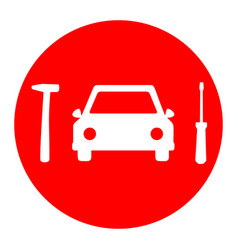 car tire repair service sign white icon vector image