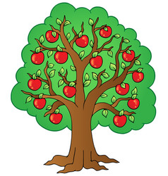 Cartoon apple tree vector