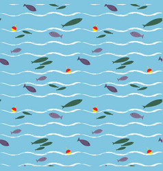 cartoon seamless pattern with cute fishes vector image