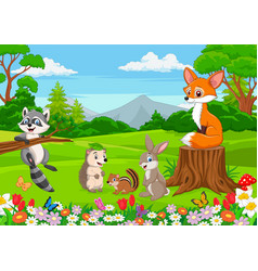 cartoon wild animals in jungle vector image