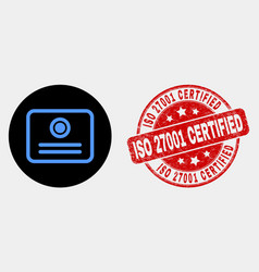 certificate icon and scratched iso 27001 vector image