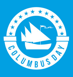columbus day icon white vector image