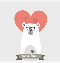 comic hipster bear with glasses from the valentine vector image