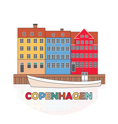 copenhagen denmark old european city icon vector image