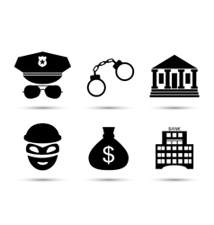 Criminal and prison icons set vector