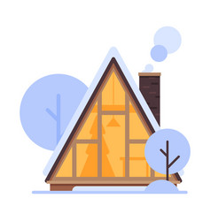 cute snowy house winter cottage building vector image