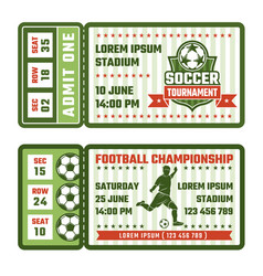 design template of tickets for football match vector image