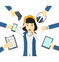 Desperate woman with gadgets vector