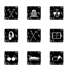 Disability icons set grunge style vector image