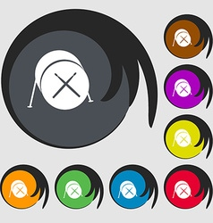 Drum icon Symbols on eight colored buttons vector