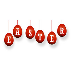 easter egg 3d icons red set white text hanging vector image