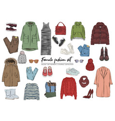 female fashion set hand drawn set womens clothes vector image