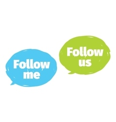 Follow me follow us labels design vector image