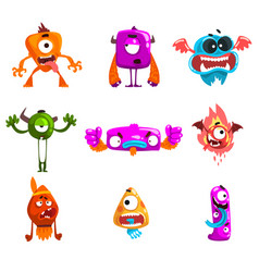funny cartoon monster with different emotions vector image