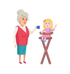 grandmother feeding granddaughter in high-chair vector image