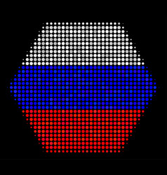 Halftone russian filled hexagon icon vector