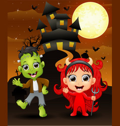 halloween background with happy girl evil and fran vector image