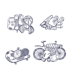 hand drawn sports equipment piles set vector image