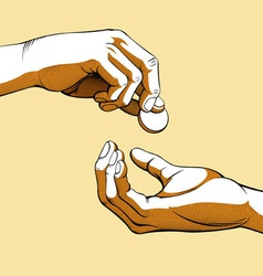 Hands giving receiving coin money colored vector