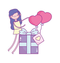 Happy valentines day girl with gift box and vector