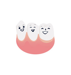 Healthy and clean tooth characters in pink gum vector