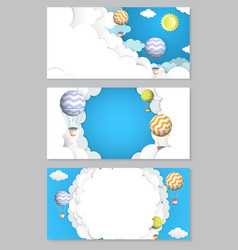 Hot air balloon paper cut horizontal banner vector