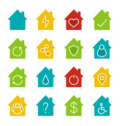 Houses glyph color icon set vector