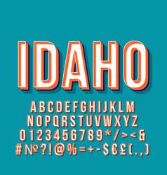 idaho vintage 3d lettering retro bold font vector image