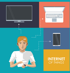 Internet things man wearable technology trendy vector