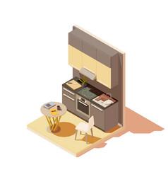 isometric kitchen interior cross-section vector image