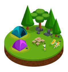 isometrics camping outdoor recreation girls vector image