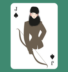 Jack or queen spades beautiful girl dressed vector