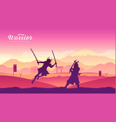 Japan warriors with sword martial arts vector