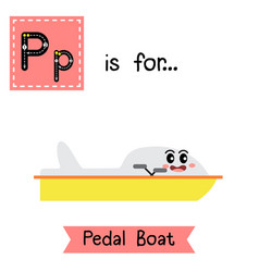 Letter p tracing pedal boat ss vector