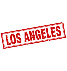 Los angeles red square grunge stamp on white vector