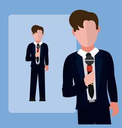 Male journalist reporter vector