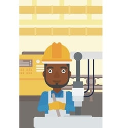 Man working on industrial drilling machine vector
