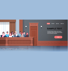 men women sitting jury box court trial session mix vector image