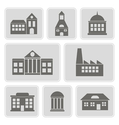 monochrome icons with various city building vector image